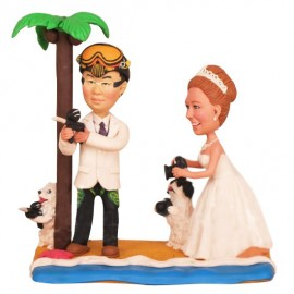 Bride And Groom Beach Theme Wedding Cake Toppers With Dogs