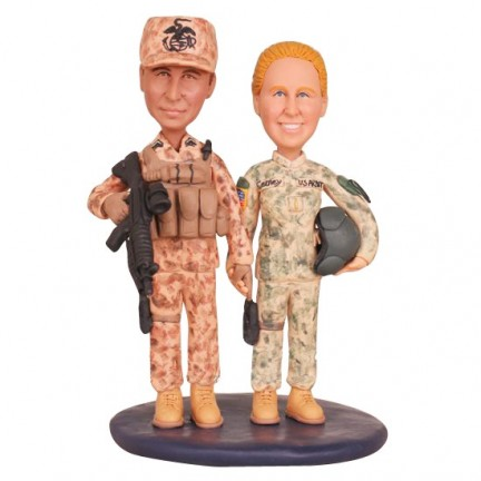 US Army Military Camo Wedding Cake Toppers