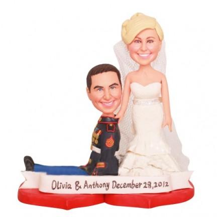 Humorous Marine Corps Custom Wedding Cake Toppers Ball And Chain