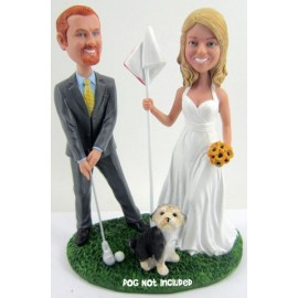Golf Bride And Groom Wedding Cake Toppers With A Dog