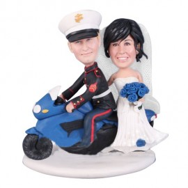 Personalised Marine Corps Motorcycle Wedding Cake Toppers