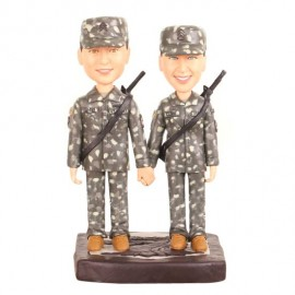 Custom Army Military Camo Wedding Cake Toppers