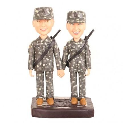 Custom Army Military Camo Wedding Cake Toppers