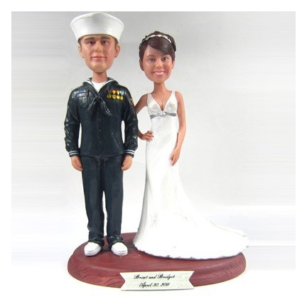 Navy Sailor Military Personalised Wedding Cake Toppers