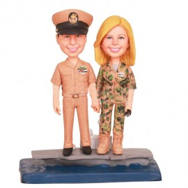 Custom Funny Military Camo Wedding Cake Toppers