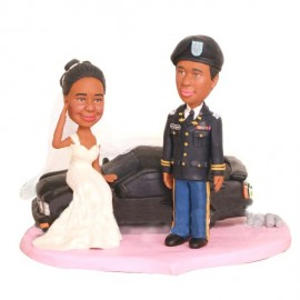 Army Officer Military Personalised Wedding Cake Toppers With Car