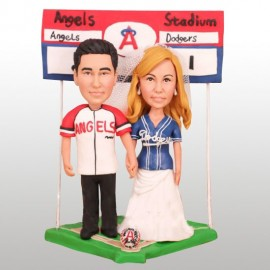 MLB Angels and Dodgers Baseball Wedding Cake Toppers
