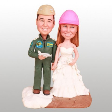 Military Aviator And Engineer Personalised Wedding Cake Toppers