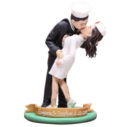 Nurse Bride And Nautical Groom Personalised Wedding Cake Toppers