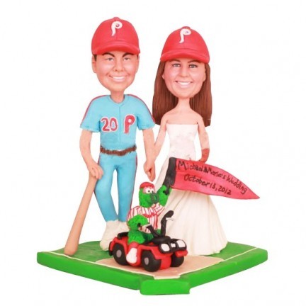 Phillie Phanatic Bride and Groom Cake Toppers