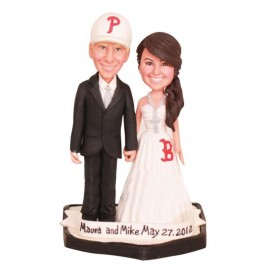 Phillies and Red Sox Baseball Wedding Cake Toppers