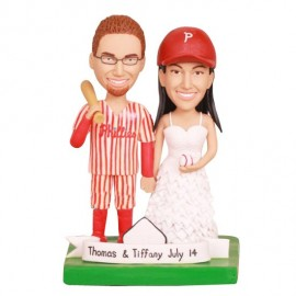 Customized Phillies Baseball Wedding Cake Topper