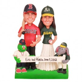 Red Sox and Athletics Wedding Cake Topper with Wally the Green Monster and Stomper