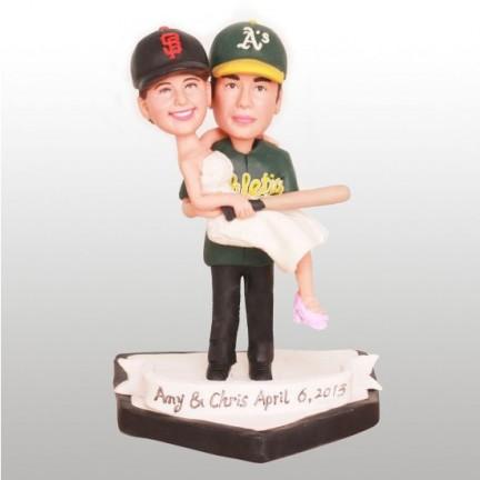 Baseball Bride And Groom Wedding Cake Toppers