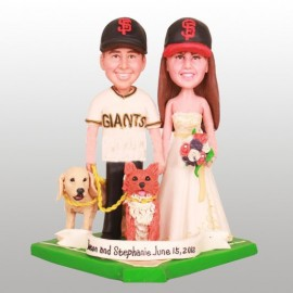 Baseball Bride And Groom Wedding Cake Toppers With Pets