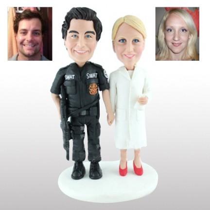 Personalised Wedding Cake Toppers Bride And SWAT Groom