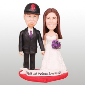 Custom Baseball Bride And Groom Wedding Cake Toppers