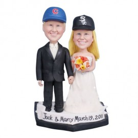 personalized Baseball Bride And Groom Wedding Cake Toppers