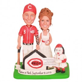 Cincinnati Reds Baseball Wedding Cake Toppers
