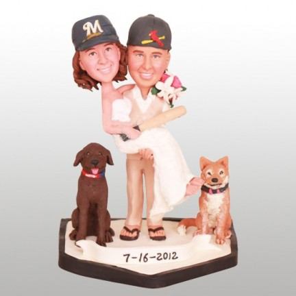 Brewers and Cardinals Baseball Wedding Cake Toppers With Dogs