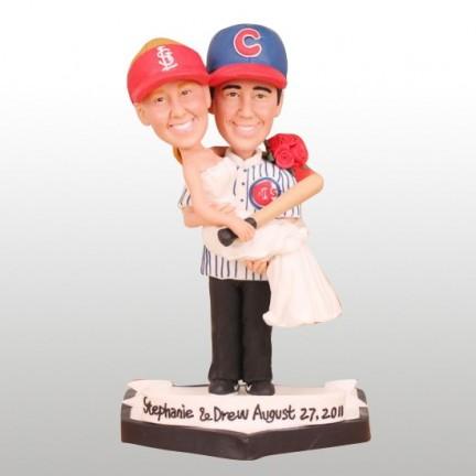 Bride And Groom Baseball Wedding Cake Toppers