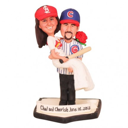 Personalized Bride And Groom Baseball Wedding Cake Toppers
