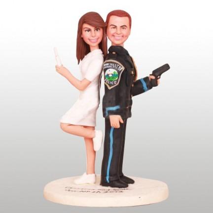 Nurse Bride And Police Groom Personalised Wedding Cake Toppers