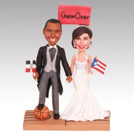 Black And White Baseball Wedding Cake Toppers