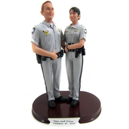 Custom Police Wedding Cake Toppers Bride And Groom