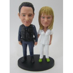 Police Picking Nurse Up Cake Toppers