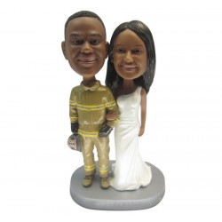 Custom Firefighter Wedding Cake Toppers