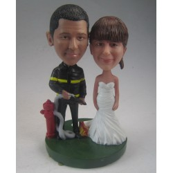 Custom Firefighter With Fire Extinguisher Wedding Cake Toppers