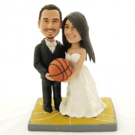Custom Basketball Bride And Groom Wedding Cake Toppers
