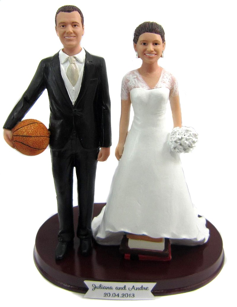 Personalized Basketball Bride And Groom Wedding Cake Toppers