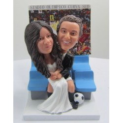 Personalised Football Themed Bride And Groom Wedding Cake Toppers