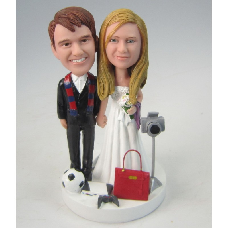 Personalised Football Themed Wedding Cake Toppers Bride And Groom