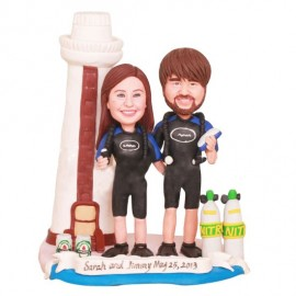 Diving Swimming Wedding Cake Toppers