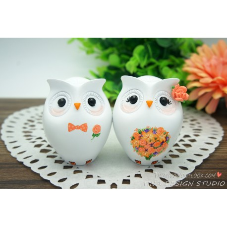 Unique Owl Love Bird Wedding Cake Toppers