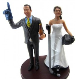 Custom Bride And Groom Hockey Wedding Cake Toppers
