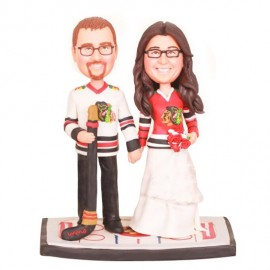 Unique Bride And Groom Ice Hockey Wedding Cake Toppers