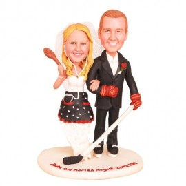 Funny Hockey Personalised Wedding Cake Toppers