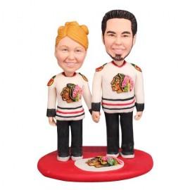 Personalised NHL Blackhawks Hockey Wedding Cake Toppers