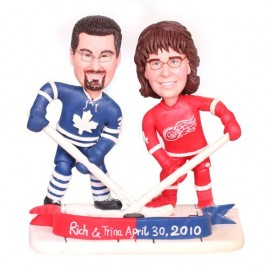 Personalised Red Wings Ice Hockey Wedding Cake Toppers Bride And Groom