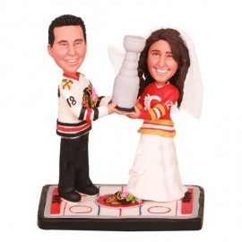 Personalised Stanley Cup Hockey Wedding Cake Toppers Bride And Groom