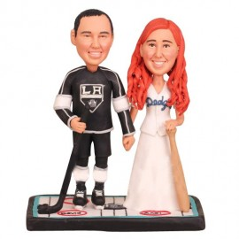 Custom Kings and Dodgers Hockey Wedding Cake Toppers Bride And Groom