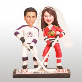 Custom Chicago Blackhawks Hockey Wedding Cake Toppers Bride And Groom