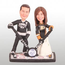 Personalised ALos Angeles Kings and Anaheim Ducks Ice Hockey Wedding Cake Toppers