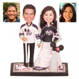 Unique ALos Angeles Kings Ice Hockey Wedding Cake Toppers