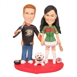 Unique Anaheim Ducks Hockey Wedding Cake Toppers With Dog