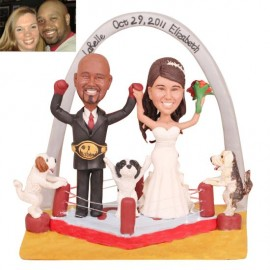 Black And White Boxing Wedding Cake Toppers